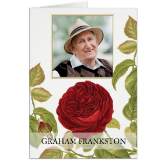Botanical Red Rose Funeral Thank You Card