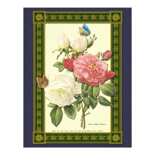 Botanical Red White Roses Custom Flyer