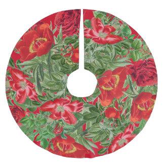 Botanical Rose Peony Flowers Floral Tree Skirt Brushed Polyester Tree Skirt