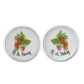 Botanical Strawberry with Custom Name Cuff Links