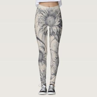 Botanical Sunflower Flowers All Over Print Legging
