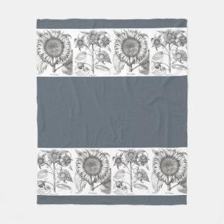 Botanical Sunflower Flowers Floral Fleece Blanket