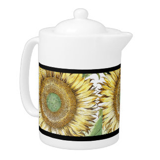 Botanical Sunflower Flowers Floral Stripes Teapot