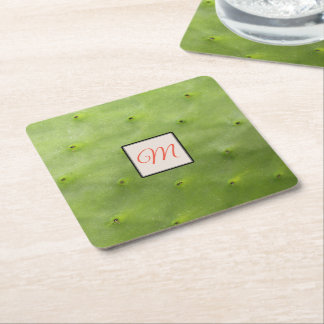 Botanical Tropical Green Cactus Photo Monogram Square Paper Coaster