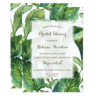 botanical tropical leaves bridal shower invitation