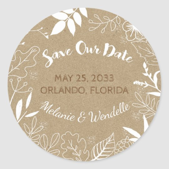 Botanical Typography Wedding Save the Date Classic Round