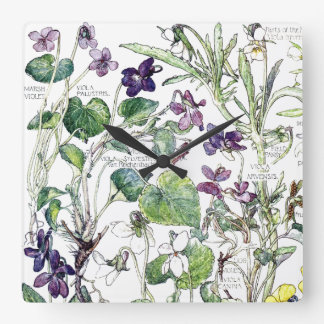 Botanical Violas Violet Family Flowers Wall Clock