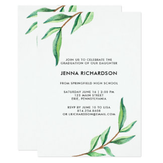 Botanical Watercolor Leaves | Graduation Party Card