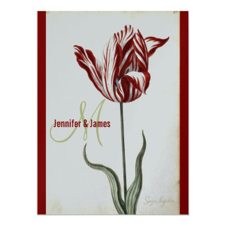 Botanical Wedding Invitation Red Silver Tulip