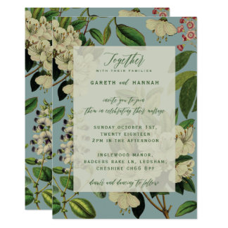 BOTANICAL WEDDING INVITES - DUCK EGG BLUE