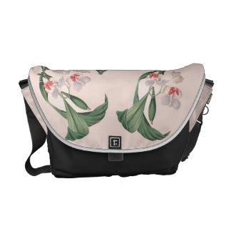 Botanical White Orchid Flower Floral Messenger Bag