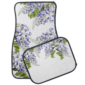 Botanical Wisteria Floral Flowers Car Floor Mats