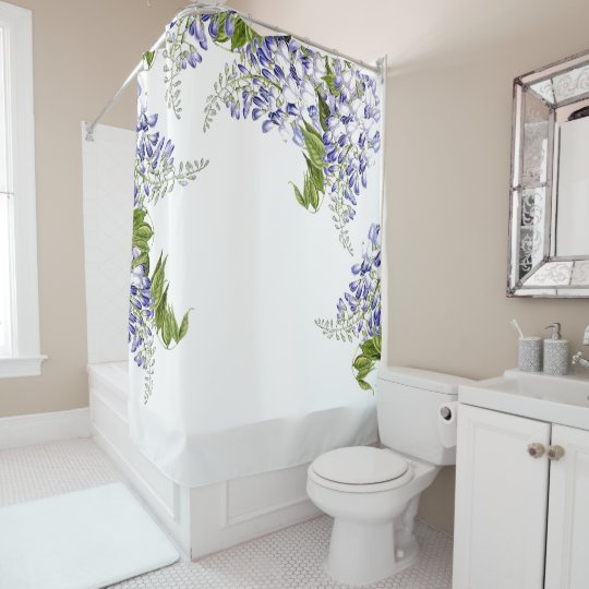 Botanical Wisteria Flowers Floral Shower Curtain