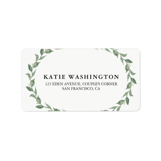 Botanical Wreath & Modern Typography | Address Label