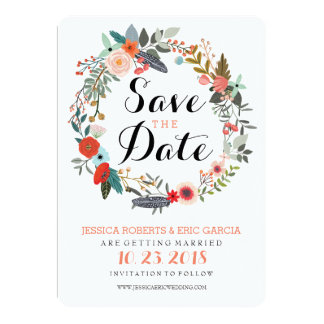 Botanical Wreath Save the Date 13 Cm X 18 Cm Invitation Card