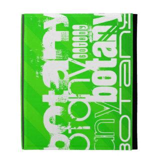 Botany; Neon Green Stripes iPad Folio Covers