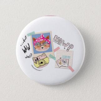 boton cat 6 cm round badge