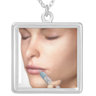 Botox Injections Silver Plated Necklace