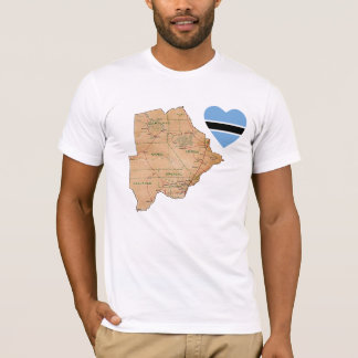 Botswana Flag Heart and Map T-Shirt