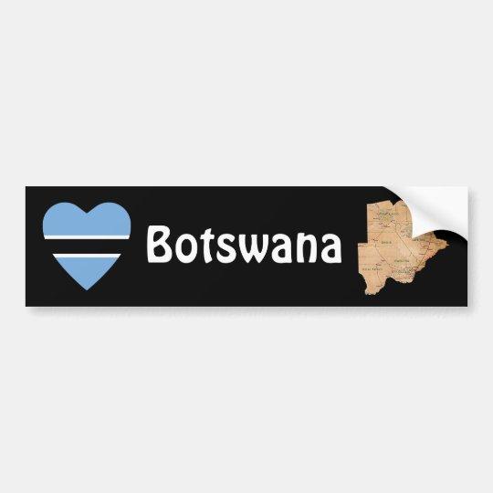 Botswana Flag Heart + Map Bumper Sticker