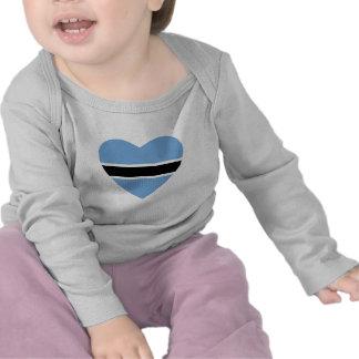 Botswana Flag Heart T-Shirt