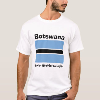 Botswana Flag + Map + Text T-Shirt