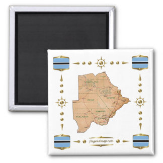 Botswana Map + Flags Magnet
