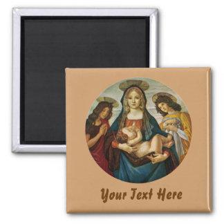 Botticelli's Madonna And Child Square Magnet