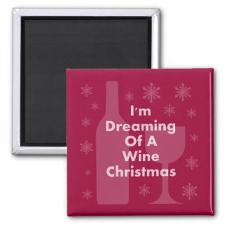 Bottle And Glass: Wine Christmas Refrigerator Magnets