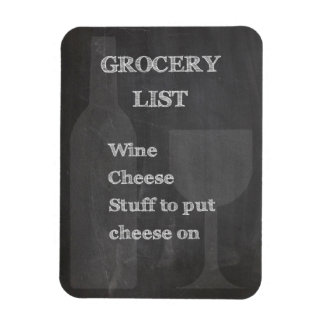 Bottle and Glass: Wine Lovers Grocery List Magnets