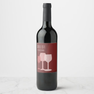 Bottle and glasses wine label