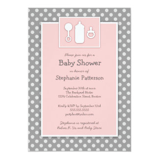 Bottle Binky Rattle Baby Shower Pink & Gray 13 Cm X 18 Cm Invitation Card