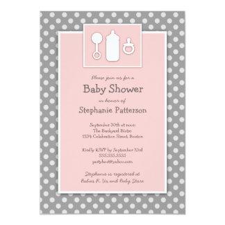 Bottle Binky Rattle Baby Shower Pink & Gray Card