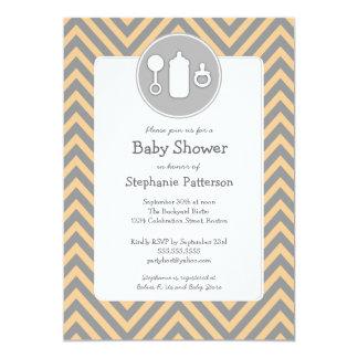 Bottle Binky Rattle Baby Shower Sherbet & Gray 13 Cm X 18 Cm Invitation Card