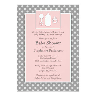 Bottle Binky Rattle Tickled Pink Baby Shower 13 Cm X 18 Cm Invitation Card