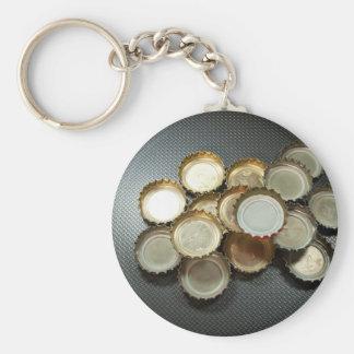 Bottle caps basic round button key ring