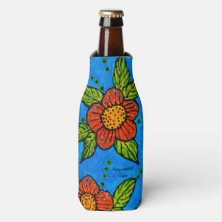 Bottle Cooler handpainted red flowers on turquoise