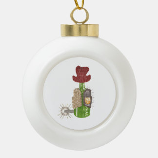 Bottle Cowboy Bauble Ceramic Ball Christmas Ornament