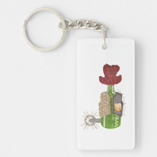 Bottle Cowboy Double Sided Keyring