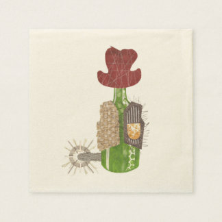 Bottle Cowboy Ecru Napkins Disposable Napkins