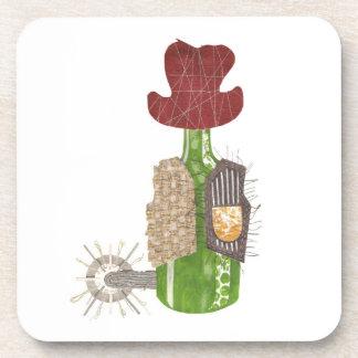 Bottle Cowboy Plastic Coasters