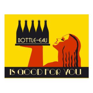 Bottle-eau retro style art deco postcard