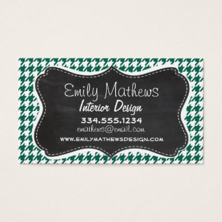 Bottle Green Houndstooth; Retro Chalkboard