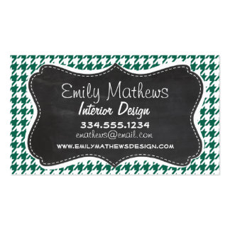 Bottle Green Houndstooth Retro Chalkboard Business Card Template