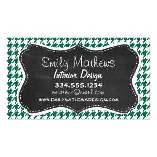Bottle Green Houndstooth; Retro Chalkboard Business Card Template