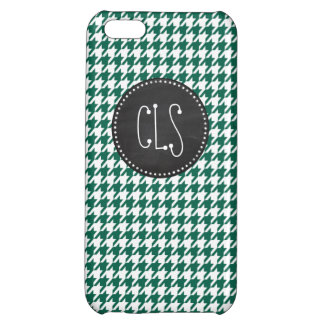 Bottle Green Houndstooth; Retro Chalkboard Cover For iPhone 5C