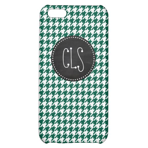 Bottle Green Houndstooth; Retro Chalkboard iPhone 5C Covers