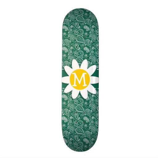 Bottle Green Paisley; Daisy Skate Board Decks