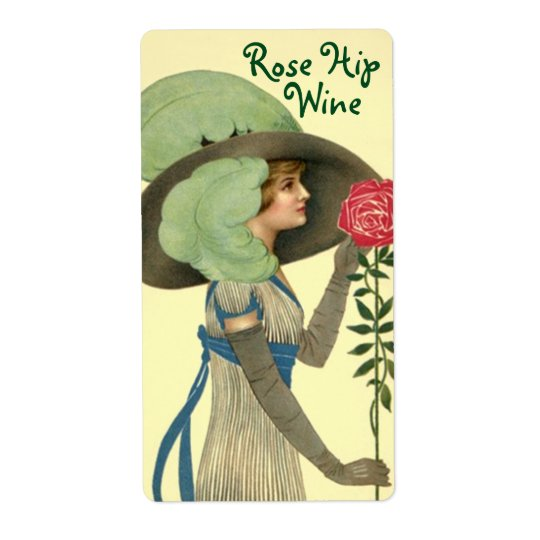 Bottle Label for Homemade Wine Rose Hip Roses Shipping Label