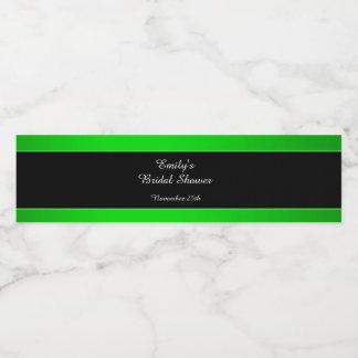 Bottle Label Neon Green Black Bridal Shower